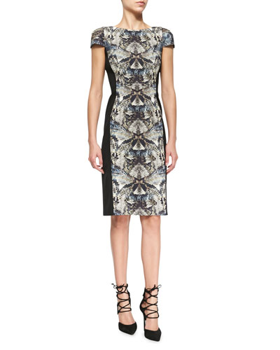 Grayson Reptile-Print Paneled Dress