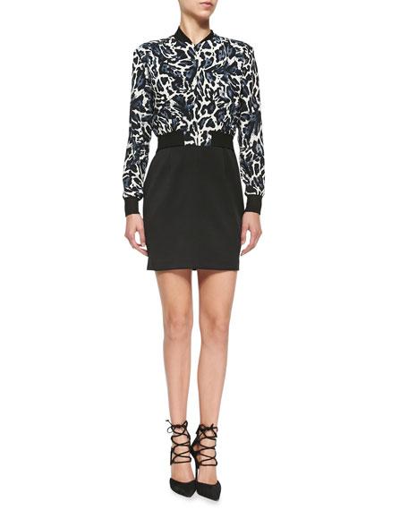 Black Halo Gabe Mini Dress W/ Leopard-Print Top
