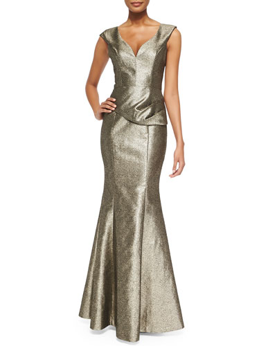 Black Halo Eve Wren Folded Metallic Tweed Gown