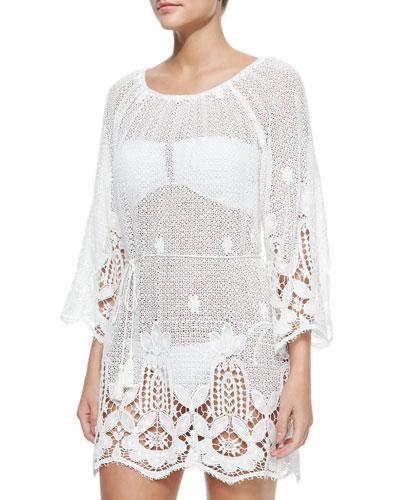 Bridgette Lace-Hem Cotton Coverup