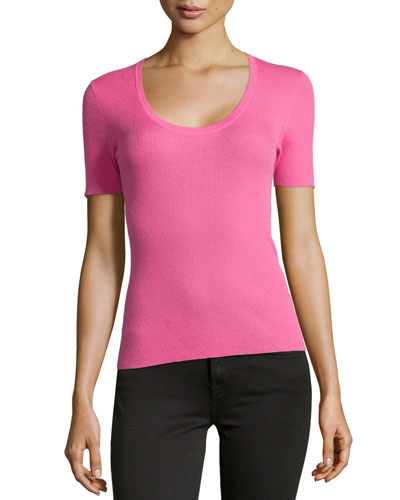 Scoop-Neck Cashmere Top, Carnation