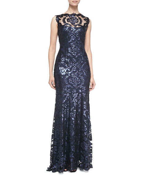 Sleeveless Sequined Lace-Overlay Gown