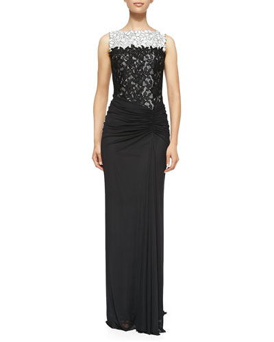 Sleeveless Draped Lace-Bodice Gown