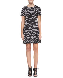 DKNY Short-Sleeve Animal-Print Dress w/ Bonded Skirt