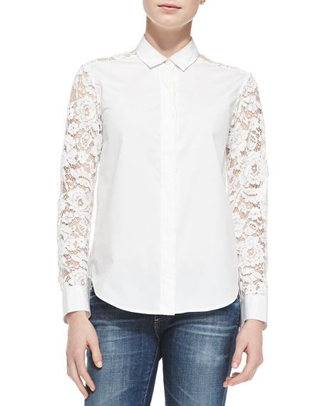 DKNY Button-Down Lace-Sleeve Shirt