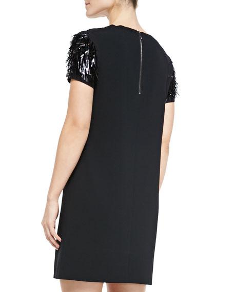 Short-Sleeve Dress W/ Fringed Top