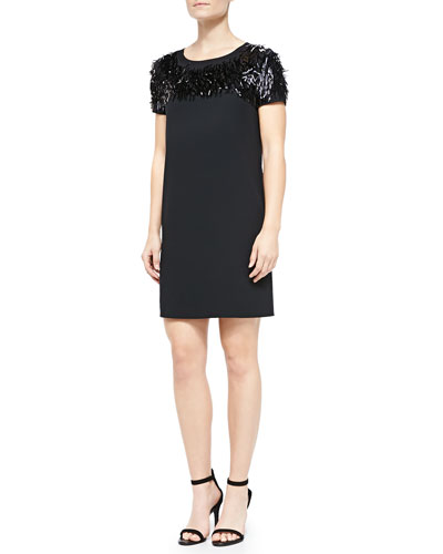 DKNY Short-Sleeve Dress W/ Fringed Top