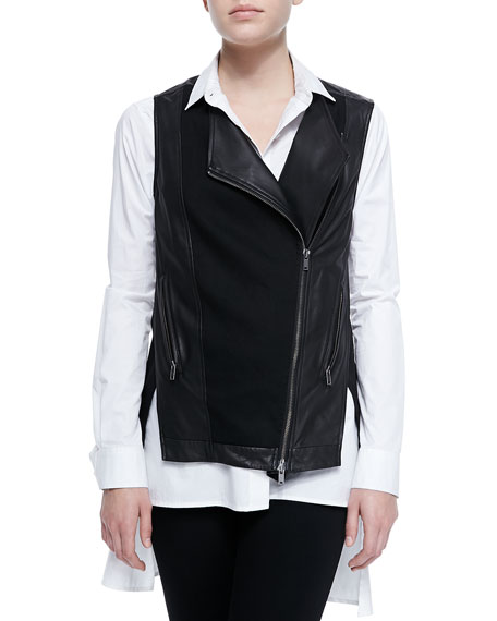 Asymmetric Zip-Front Leather Vest