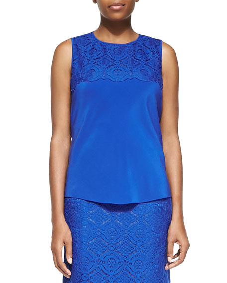 Magaschoni Silk & Lace Tank Top