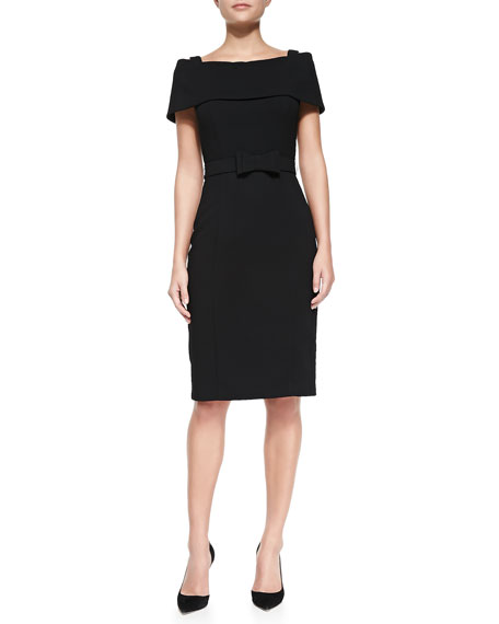 Badgley Mischka Off-the-Shoulder Sheath Dress W/ Bow Belt