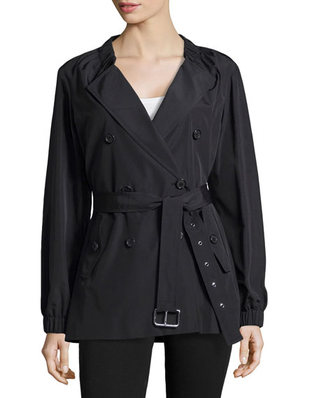 Gathered-Neck Belted Trench Coat, Black