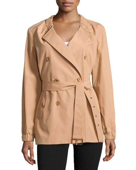 Gathered-Neck Belted Trench Coat, Suntan