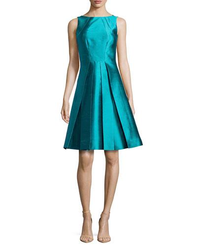Sleeveless Silk-Wool Bell Dress, Aqua