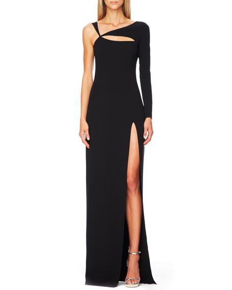 Cutout Single-Sleeve Gown, Black