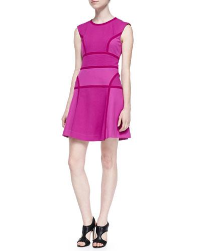 Trina Turk Nala Pixel-Striped Knit Fit-and-Flare Dress