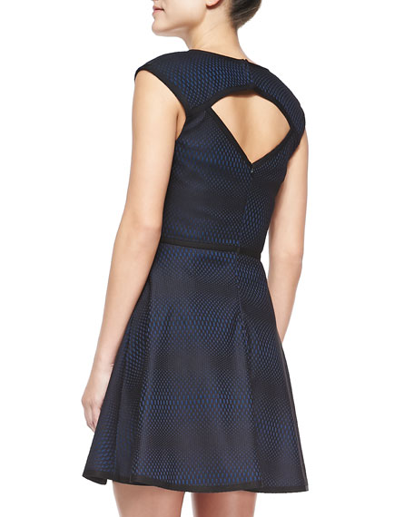 Corina Cap-Sleeve Bonded Lace Dress