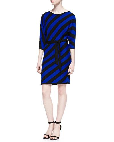 Trina Turk Selma Bias-Striped Merino Wool Dress