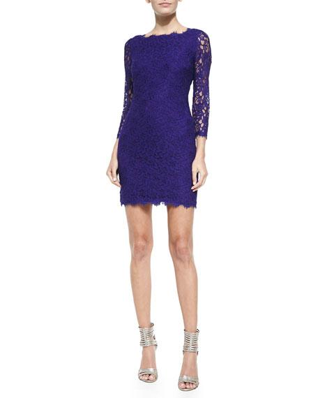 Diane von Furstenberg Zarita 3/4-Sleeve Fitted Lace Dress,