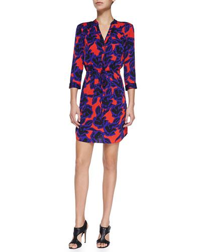 Diane von Furstenberg Freya Tie-Waist Stretch-Silk Dress