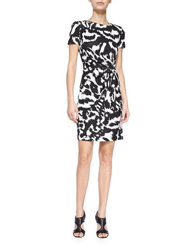Diane von Furstenberg Zoe Short-Sleeve Printed Tie-Belt Dress