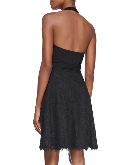 Amelia Lace-Skirt Halter Dress