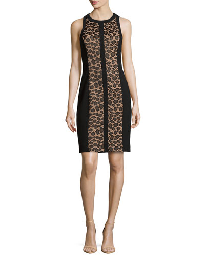 Leopard Lace Illusion Sheath Dress