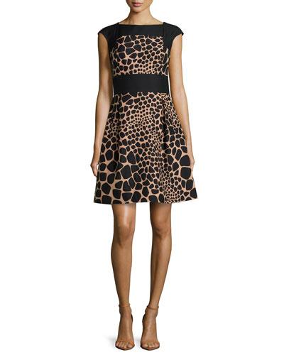 Croc-Print Colorblock Bell Dress, Suntan/Black
