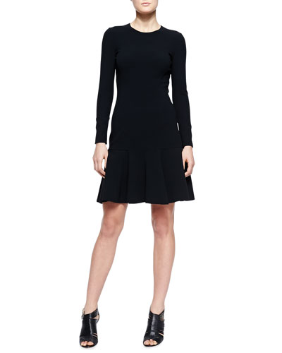 Flare-Hem Knit Dress, Black