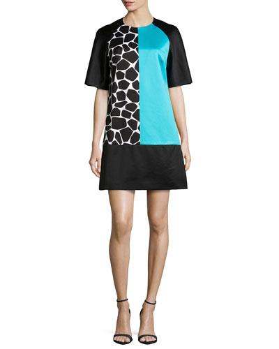 Colorblock Printed Shift Dress