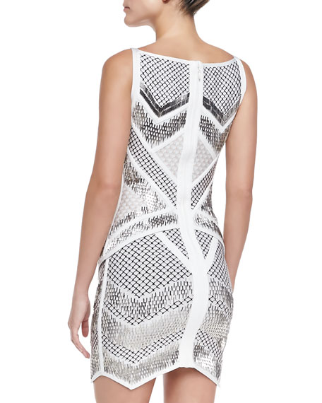 Juliet Geometric Beaded Bandage Dress