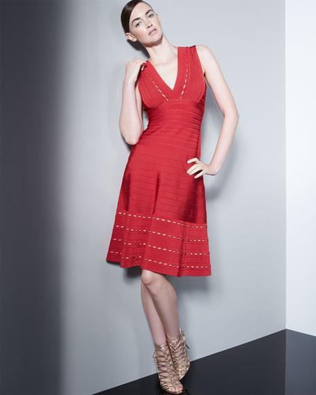 Herve Leger Kyra Eyelet-Trim Dress, Lipstick Red