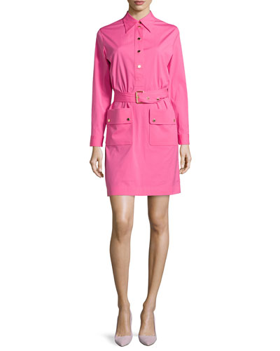Belted Long-Sleeve Shirtdress, Carnation