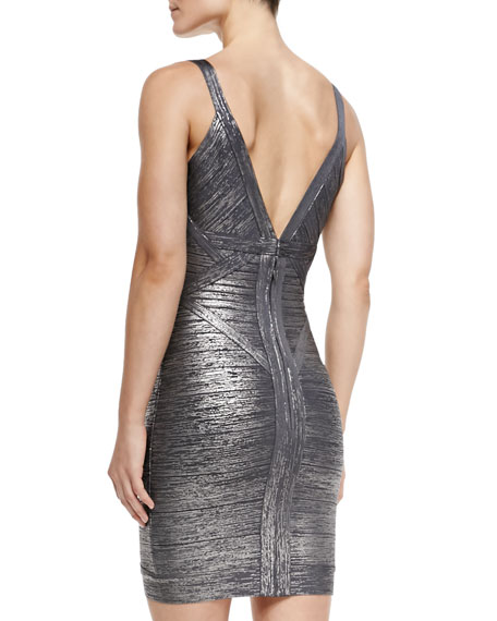 Ari Woodgrain Foil-Print Dress
