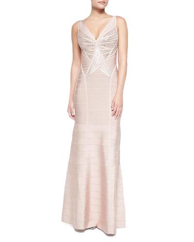 Herve Leger Merlyn Sleeveless Sequined Sunburst Gown