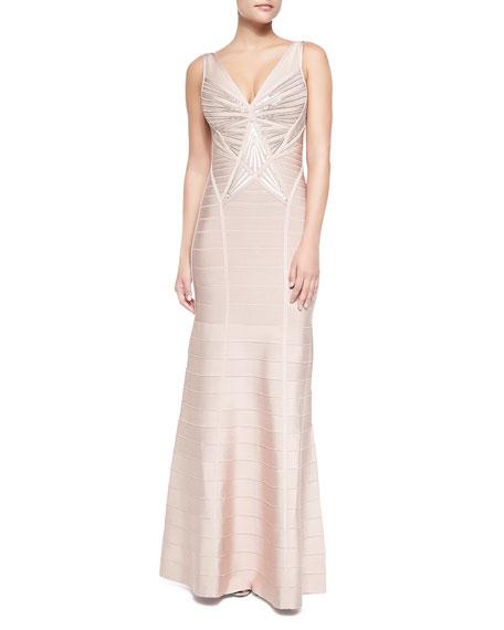 Merlyn Sleeveless Sequined Sunburst Gown