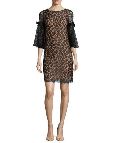 Bell-Sleeve Leopard Lace Shift Dress