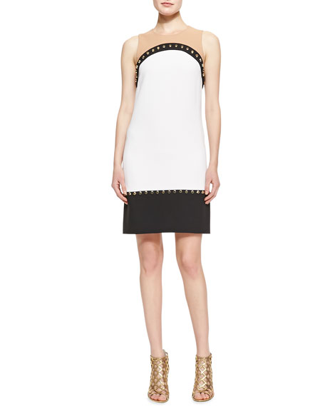 Studded Colorblock Knit Dress