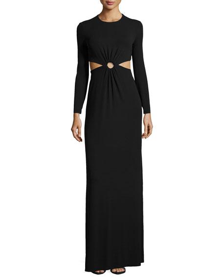 Cutout Long-Sleeve Jersey Gown, Black