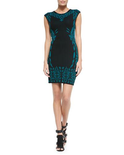 Rebecca Minkoff Gretta Jacquard Cap-Sleeve Dress