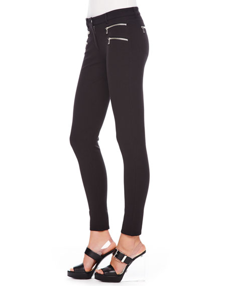 Stretch-Cotton Skinny Pants, Black