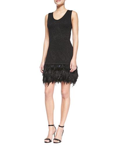 Nanette Lepore Music Hall Dress W/ Feathered Hem