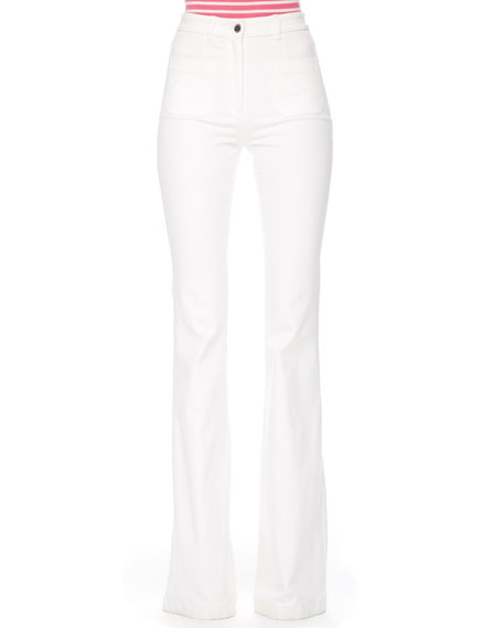 Flared Stretch-Denim Jeans, White