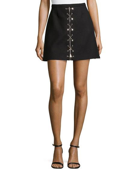 Chain-Front Mini Skirt, Black