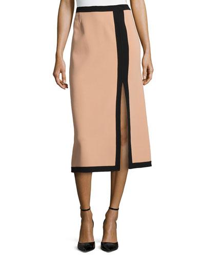 Slit-Front Two-Tone Midi Skirt, Suntan