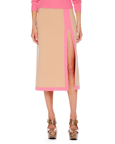 Slit-Front Two-Tone Midi Skirt, Suntan