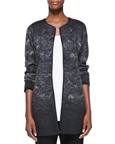Felted Sprinkle-Print Wool Long Jacket, Petite