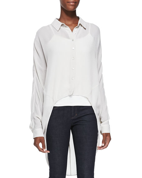 Eileen Fisher Crinkled Crepe High-Low Shirt