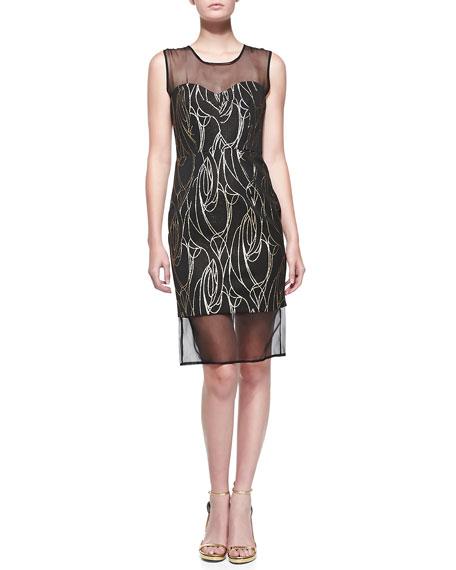 Milly Organza-Detail Sheath Dress