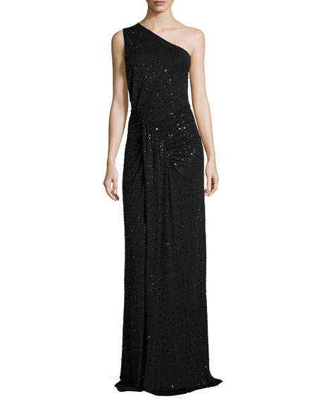 Sequined One-Shoulder Ruched Gown, Black