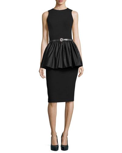 Sleeveless Crepe Peplum Dress, Black